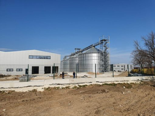 Silos and warehouse for storing and cleaning raw maize